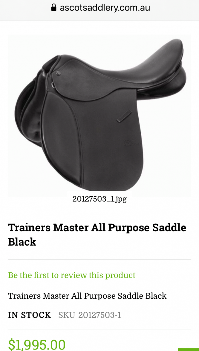 New Trainer 17in AP saddle – black, changeable gullet system (currently W)